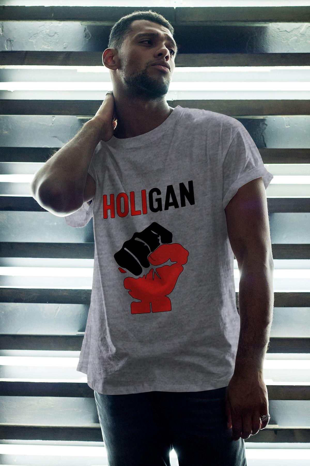 Holigan Gri Erkek Oversize Tshirt - Tişört