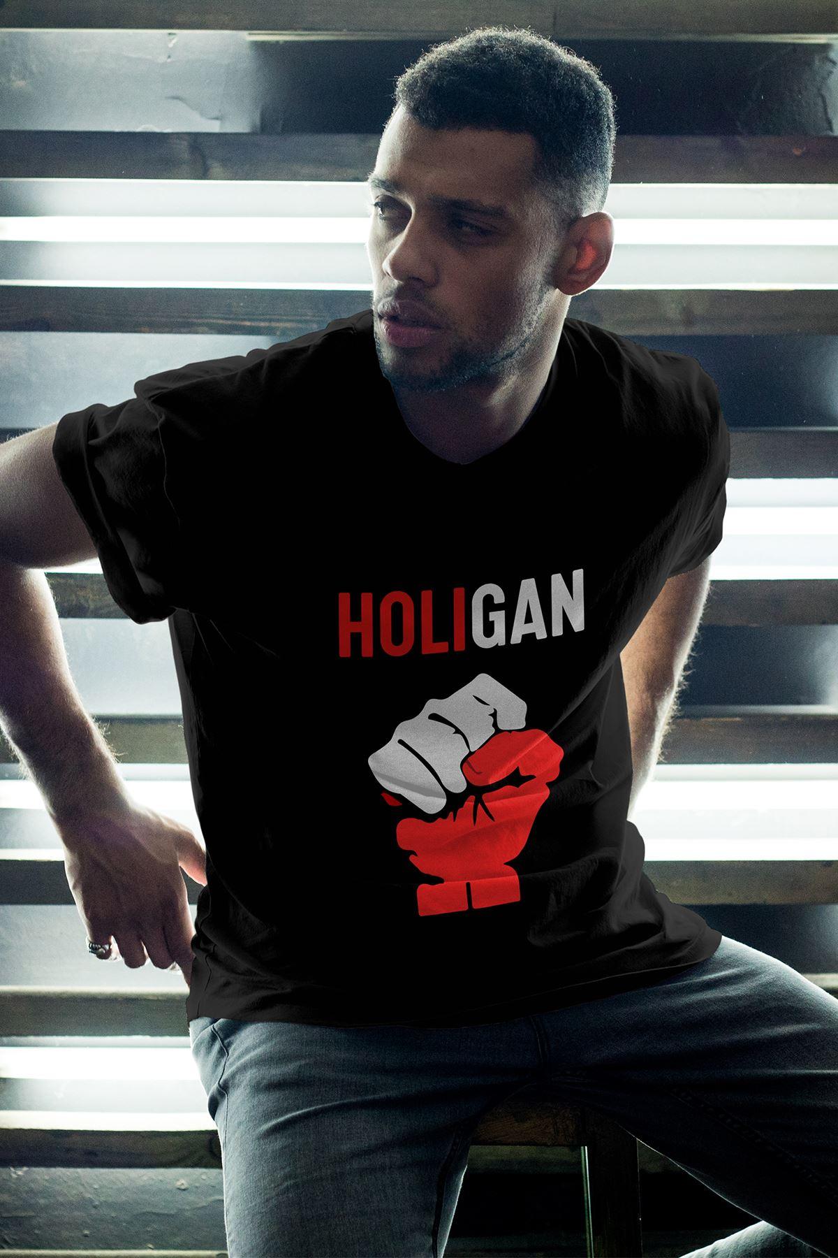 Holigan Siyah Erkek Oversize Tshirt - Tişört