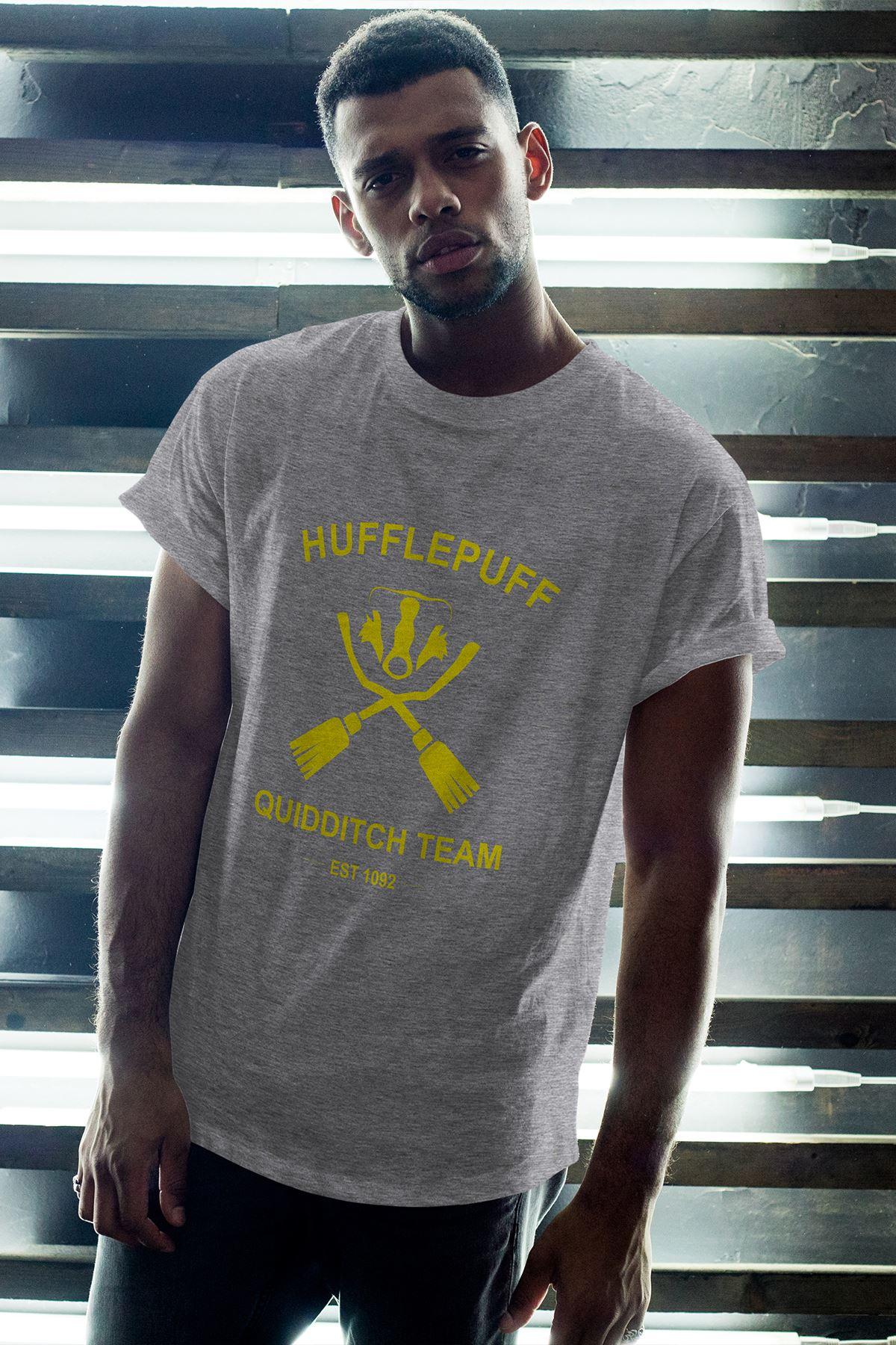 Hufflepuff Gri Erkek Oversize Tshirt - Tişört