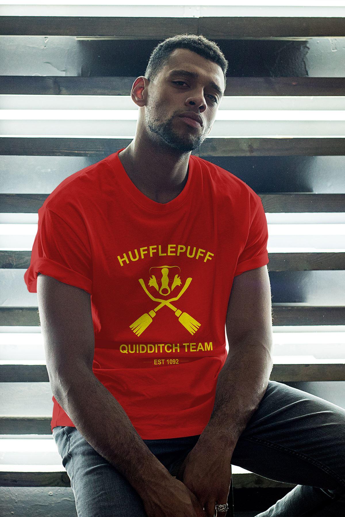 Hufflepuff Kırmızı Erkek Oversize Tshirt - Tişört