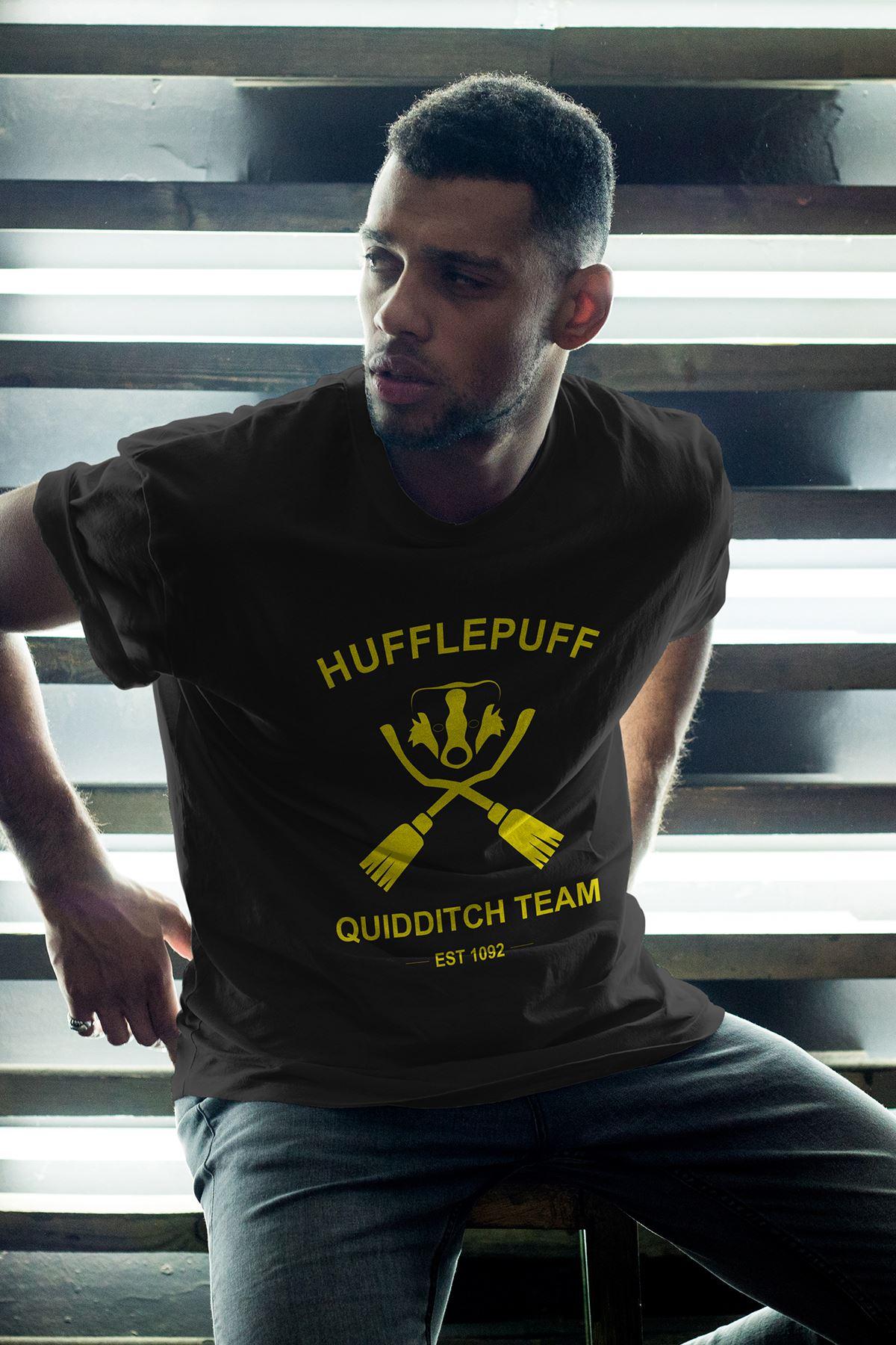 Hufflepuff Siyah Erkek Oversize Tshirt - Tişört