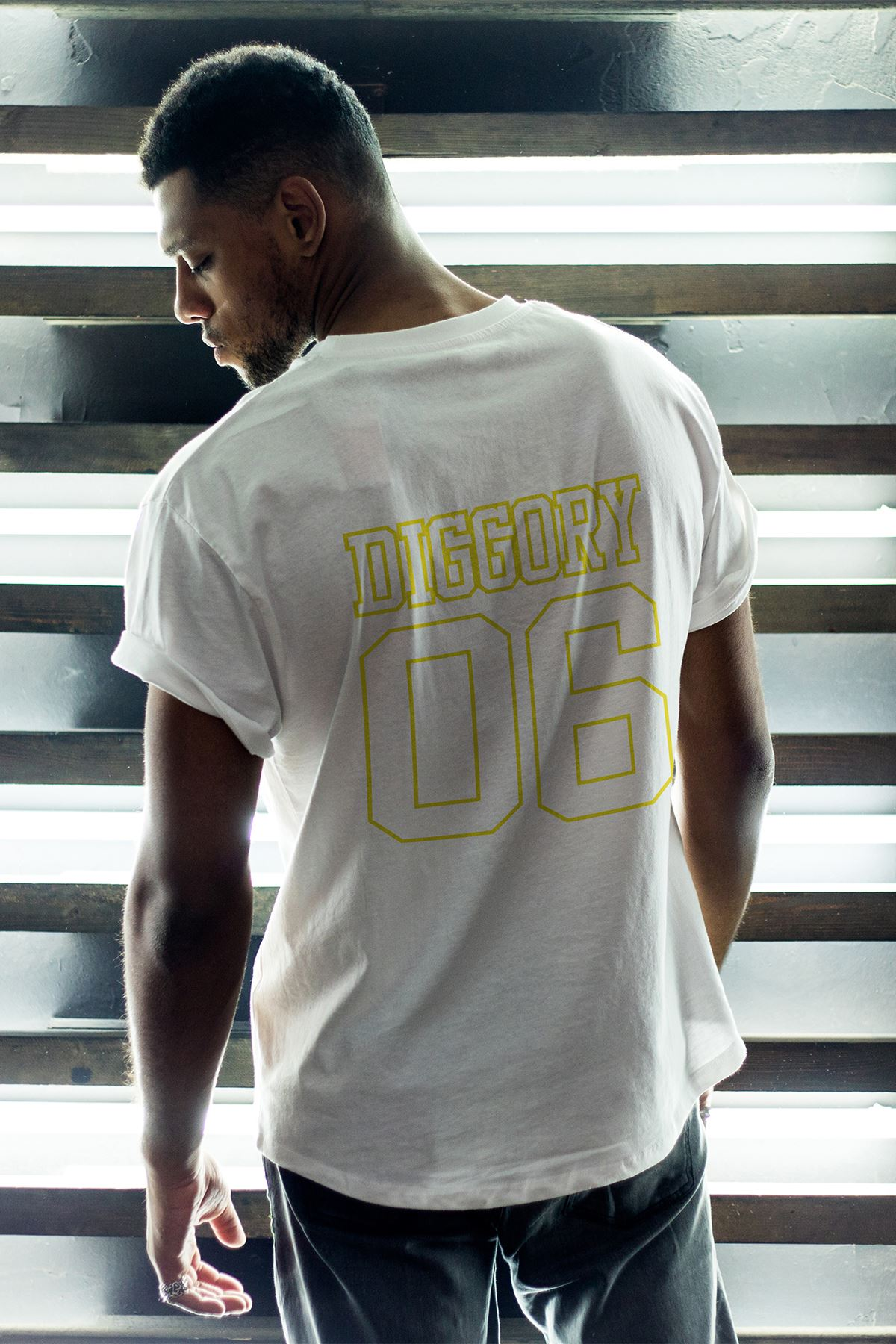 Hufflepuff Beyaz Erkek Oversize Tshirt - Tişört