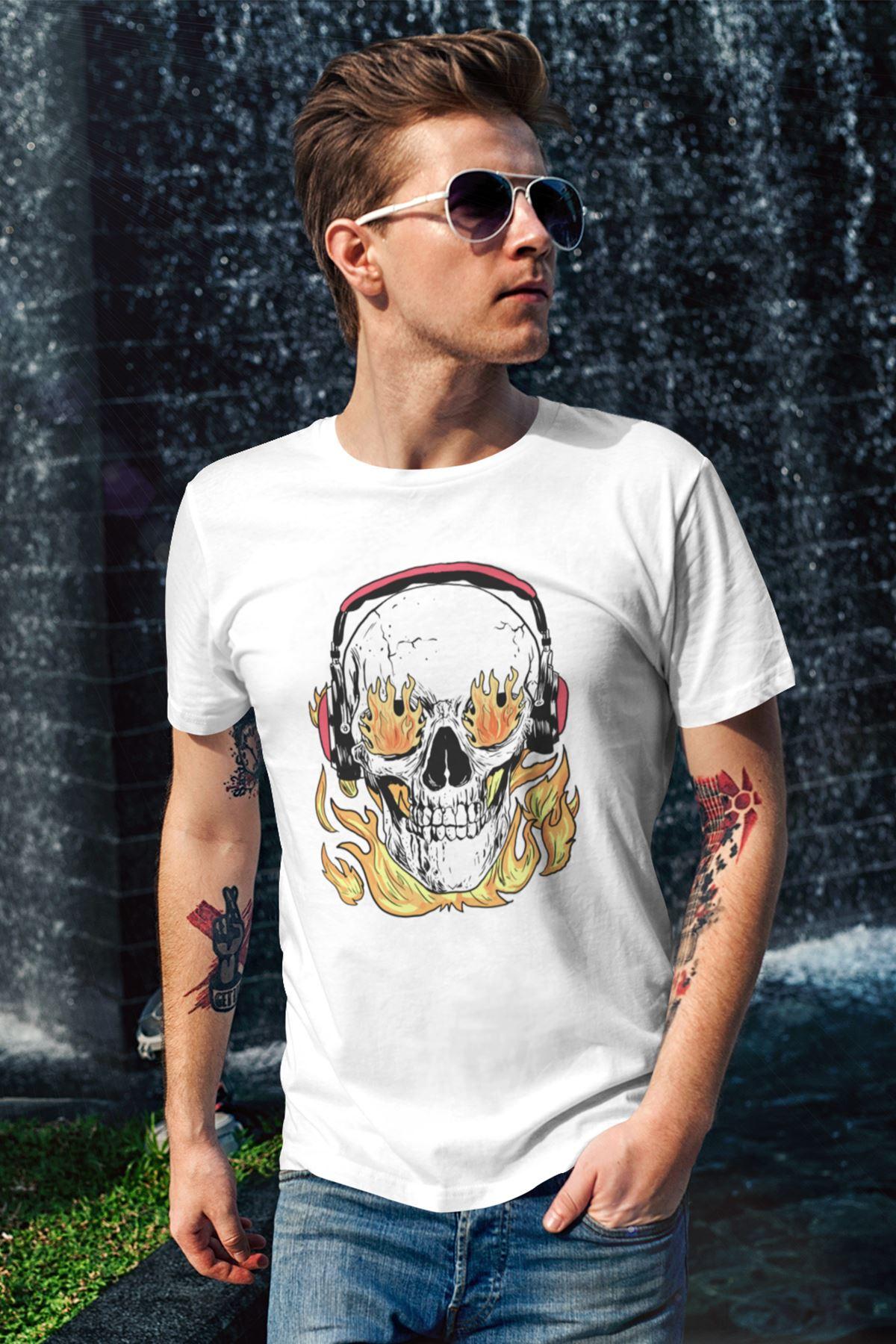 Kurukafa Beyaz Erkek Tshirt - Tişört