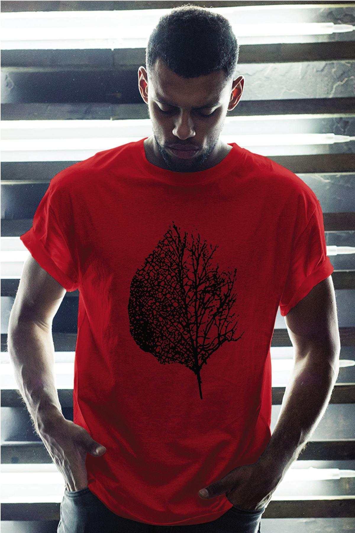 Leaf Kırmızı Erkek Oversize Tshirt - Tişört