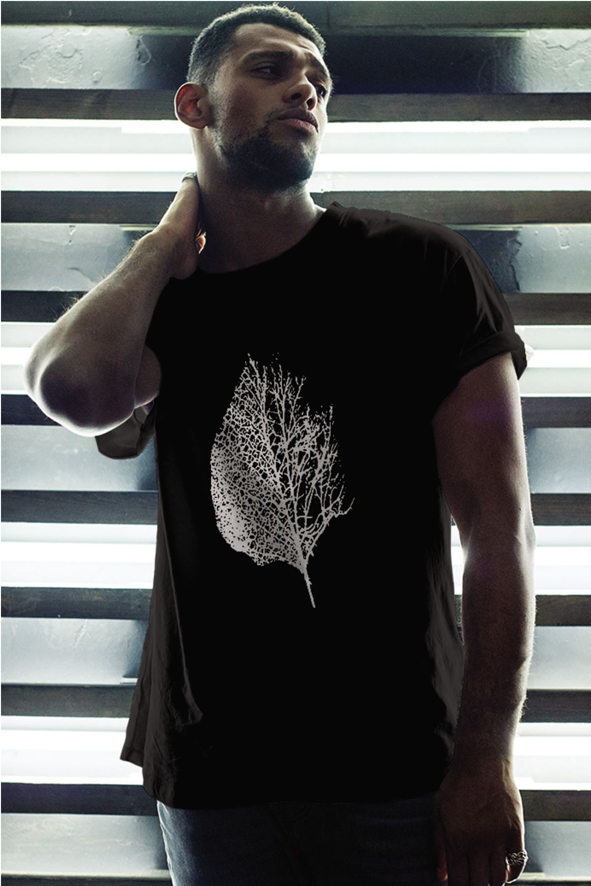 Leaf Siyah Erkek Oversize Tshirt - Tişört