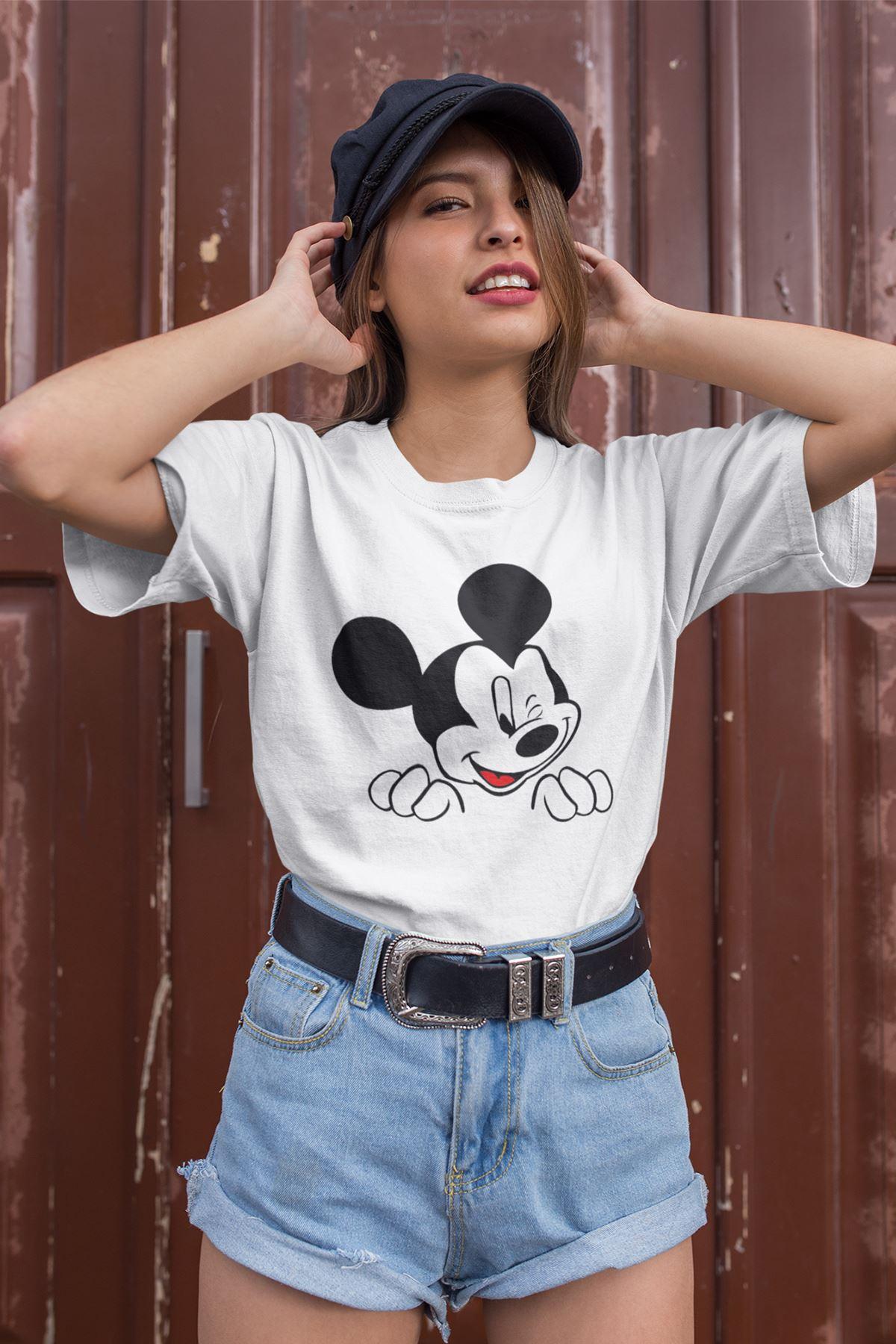 Mickey Mouse Beyaz Outdoor Kadın Tshirt - Tişört