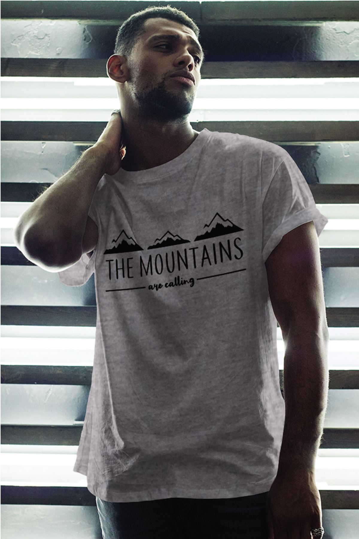 Mountain Gri Erkek Oversize Tshirt - Tişört