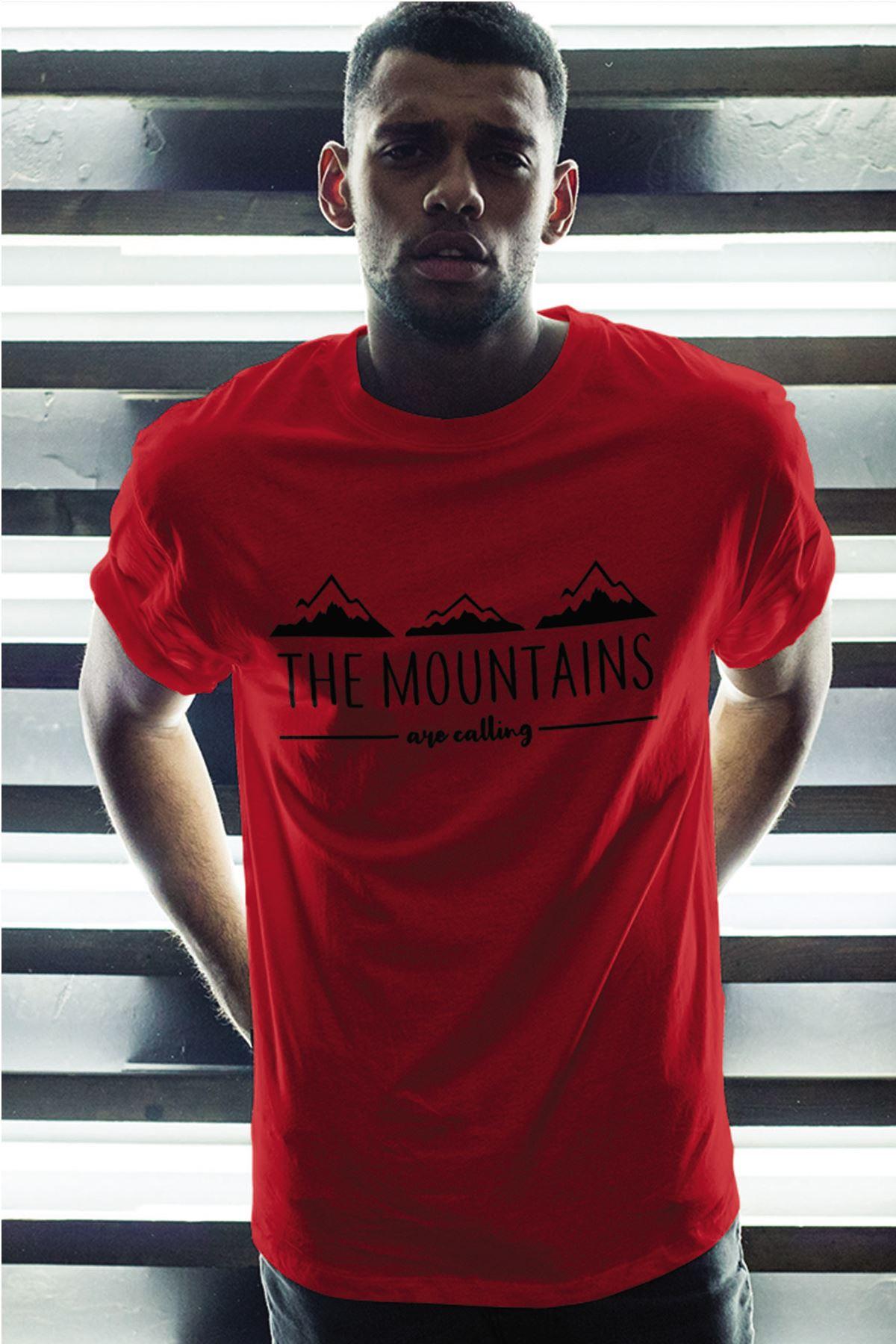 Mountain Kırmızı Erkek Oversize Tshirt - Tişört