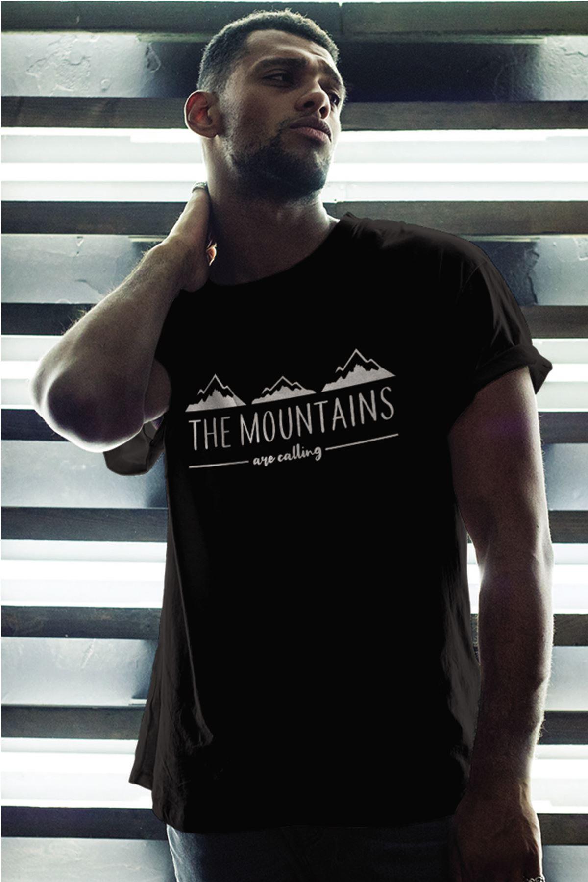 Mountain Siyah Erkek Oversize Tshirt - Tişört