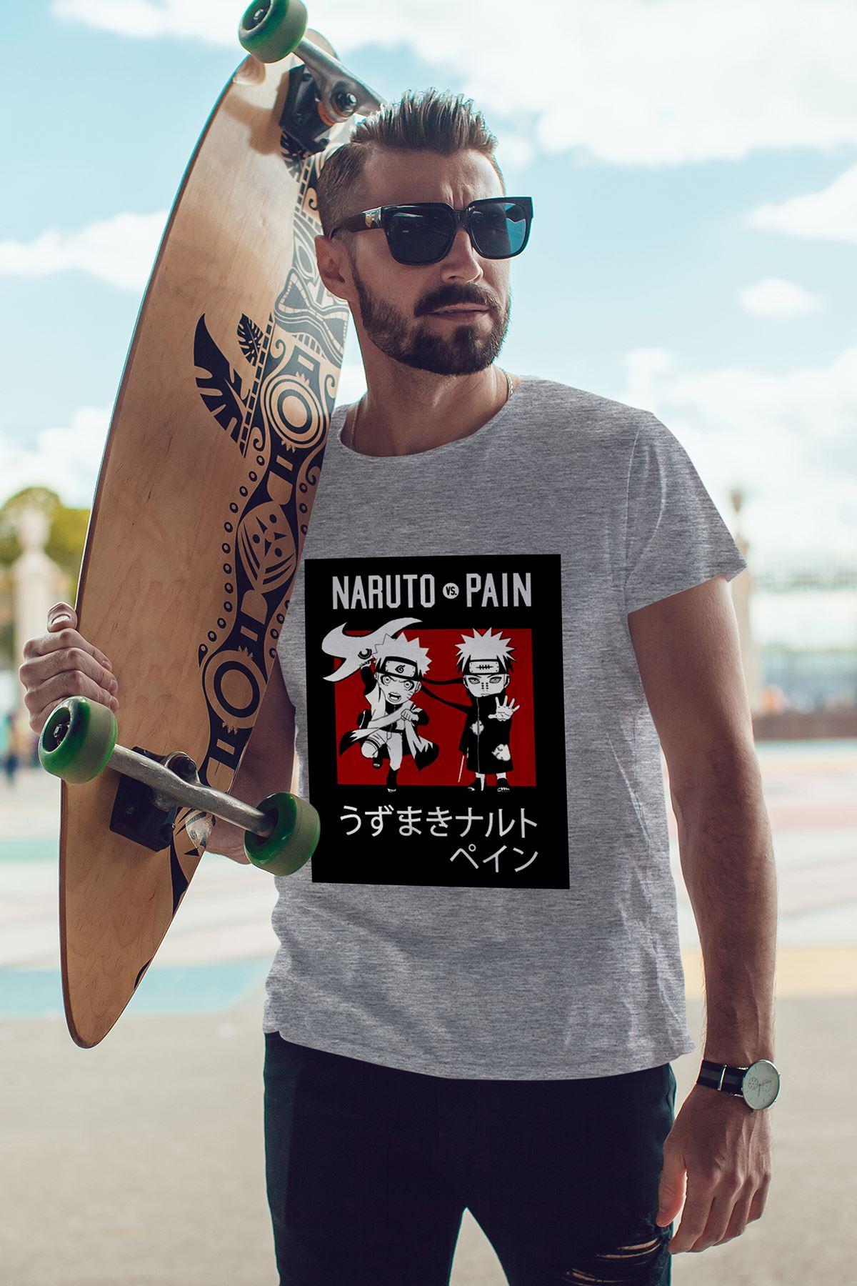 Naruto Anime 04 Gri Erkek Tshirt - Tişört