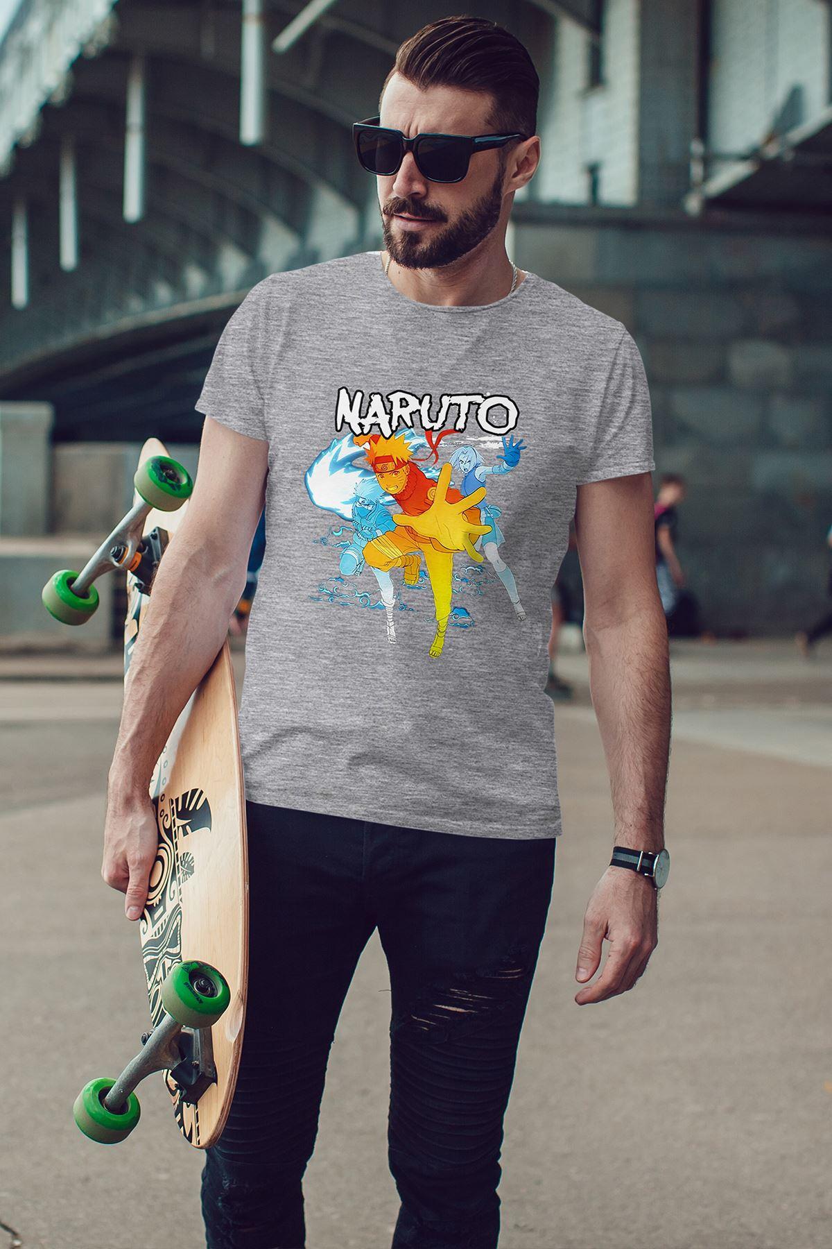 Naruto Anime 03 Gri Erkek Tshirt - Tişört