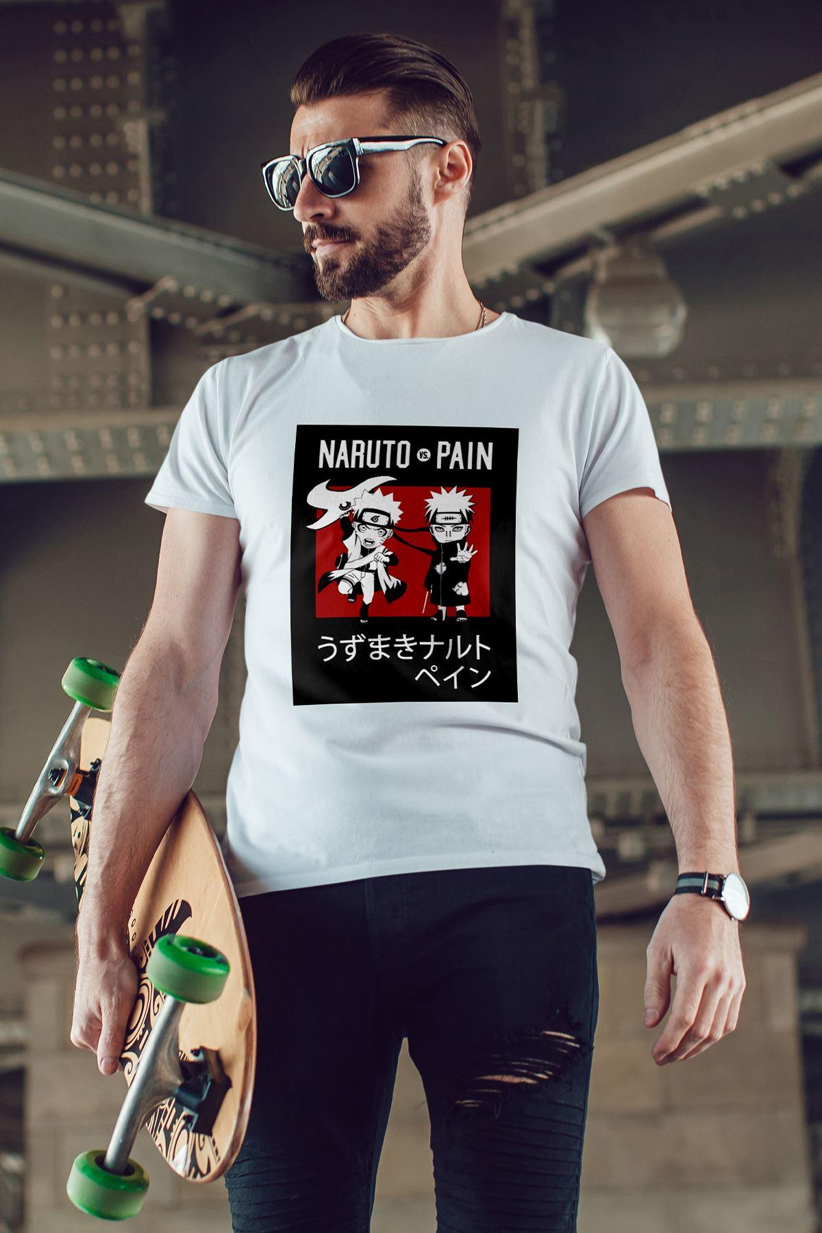 Naruto Anime 04 Beyaz Erkek Tshirt - Tişört