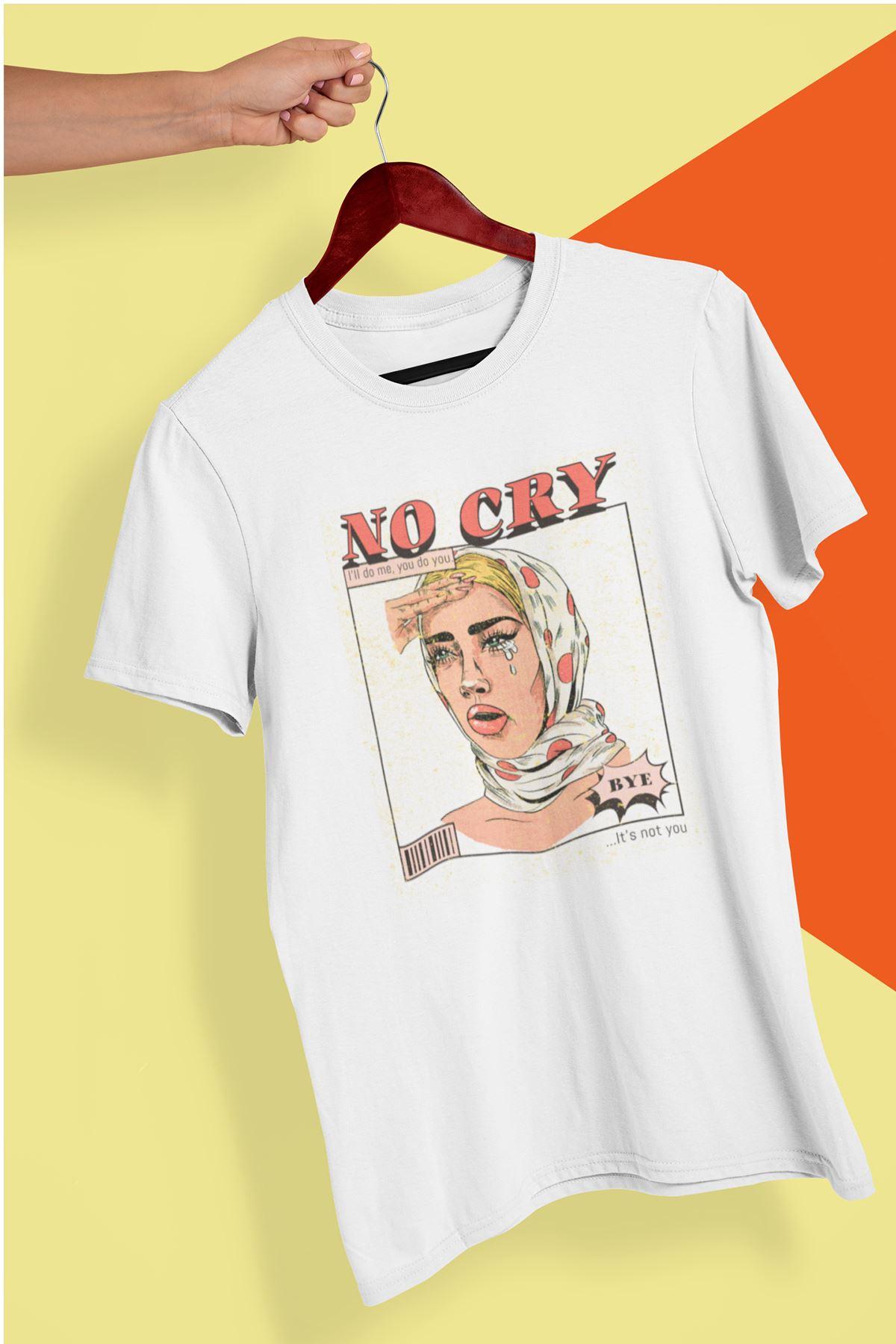 No Cry Beyaz Boyfriend Kadın Tshirt - Tişört