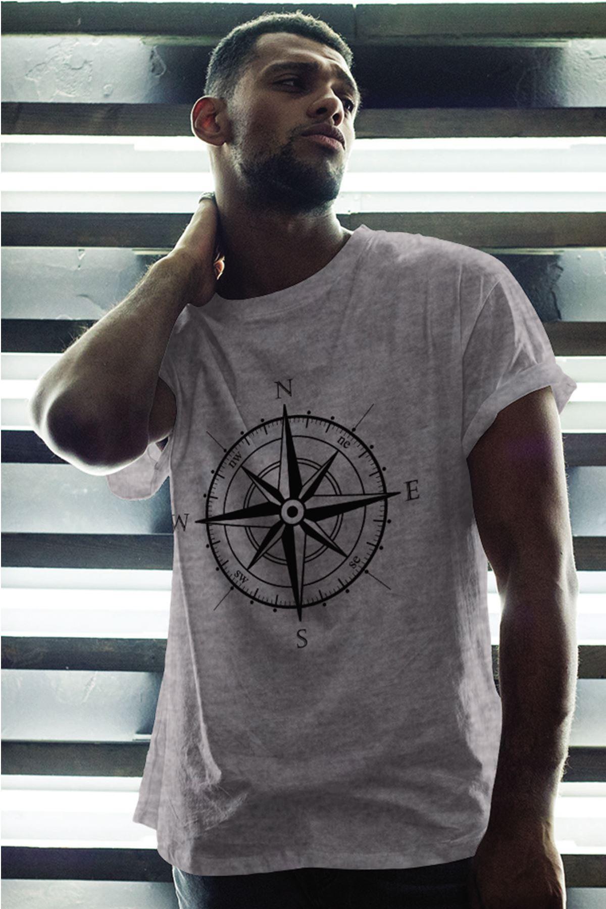 Pusula Gri Erkek Oversize Tshirt - Tişört