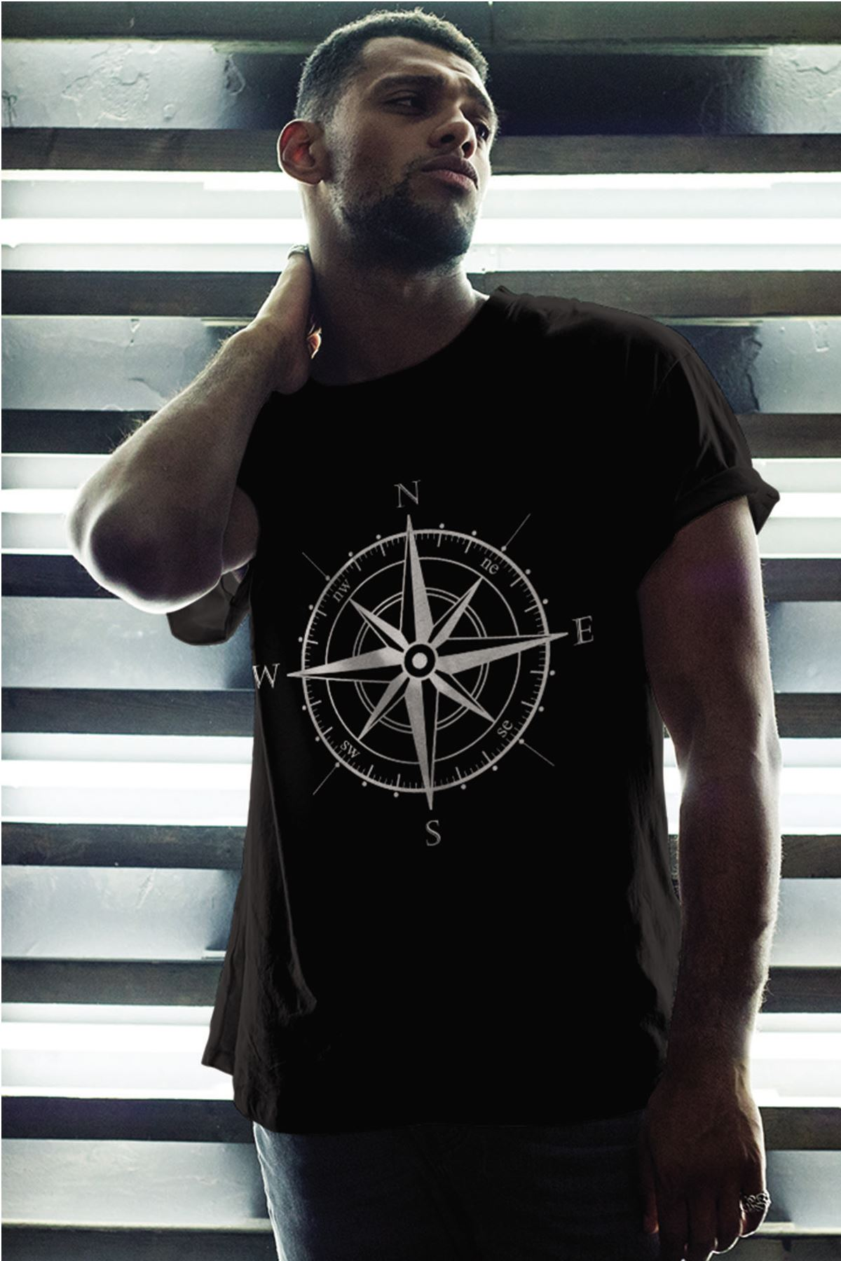 Pusula Siyah Erkek Oversize Tshirt - Tişört