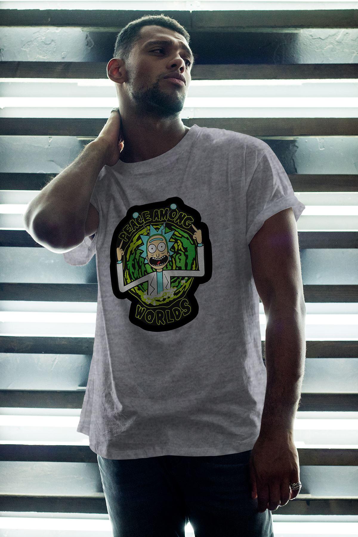 Rick and Morty Gri Erkek Oversize Tshirt - Tişört