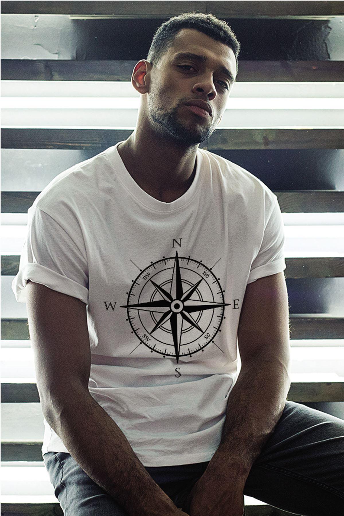 Pusula Beyaz Erkek Oversize Tshirt - Tişört