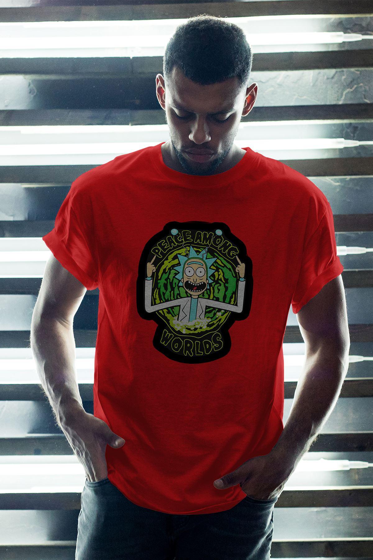 Rick and Morty Kırmızı Erkek Oversize Tshirt - Tişört