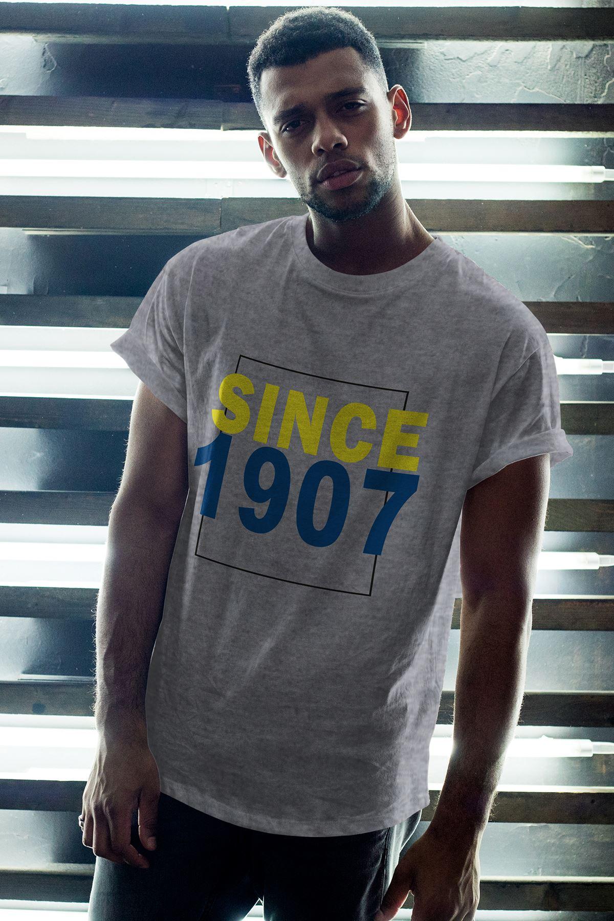 Since 1907 Gri Erkek Oversize Tshirt - Tişört