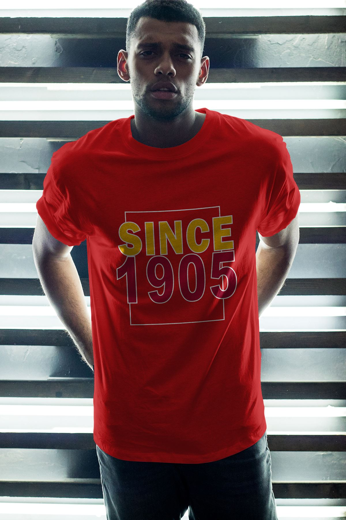 Since 1905 Kırmızı Erkek Oversize Tshirt - Tişört