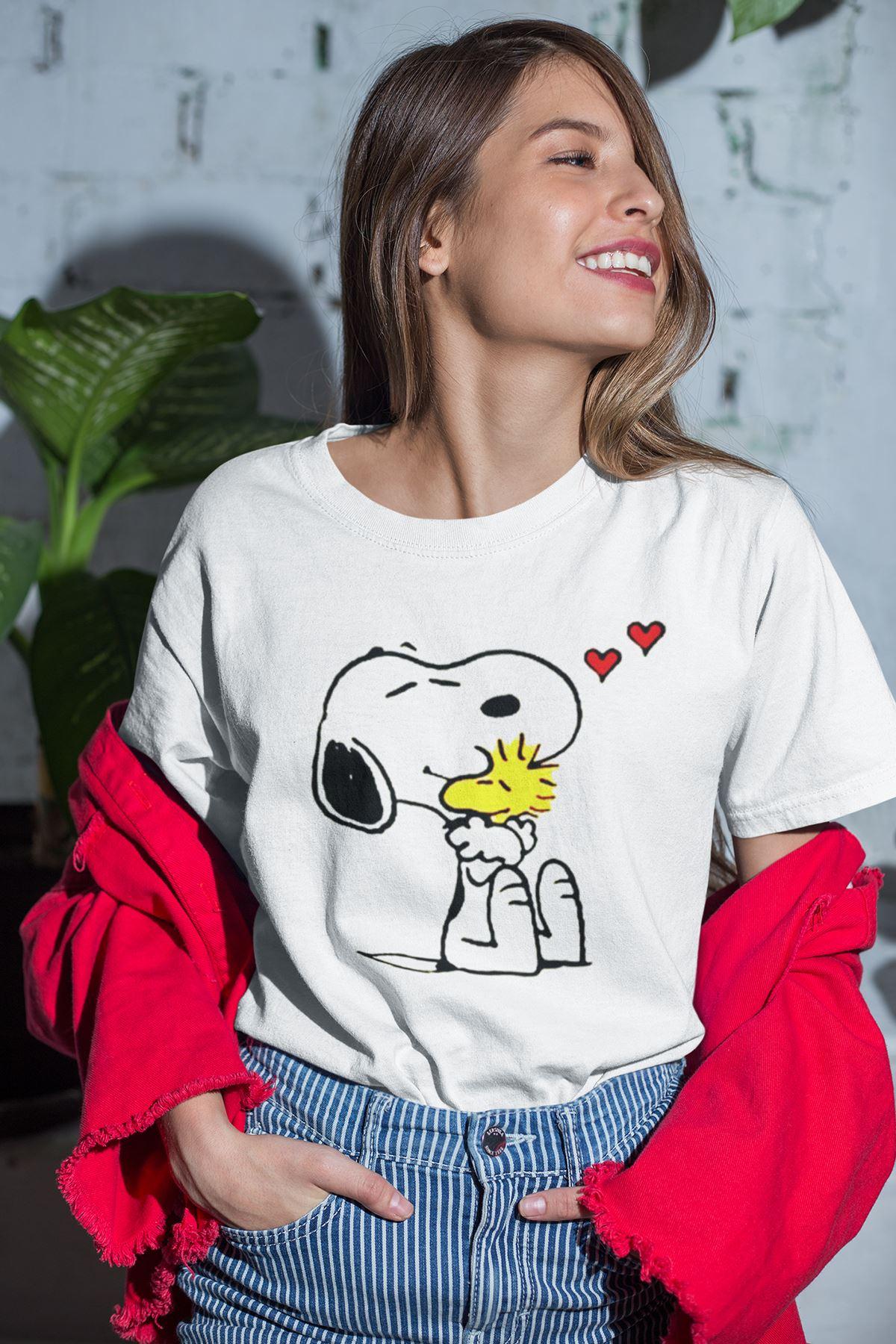 Snoppy Beyaz Outdoor Kadın Tshirt - Tişört