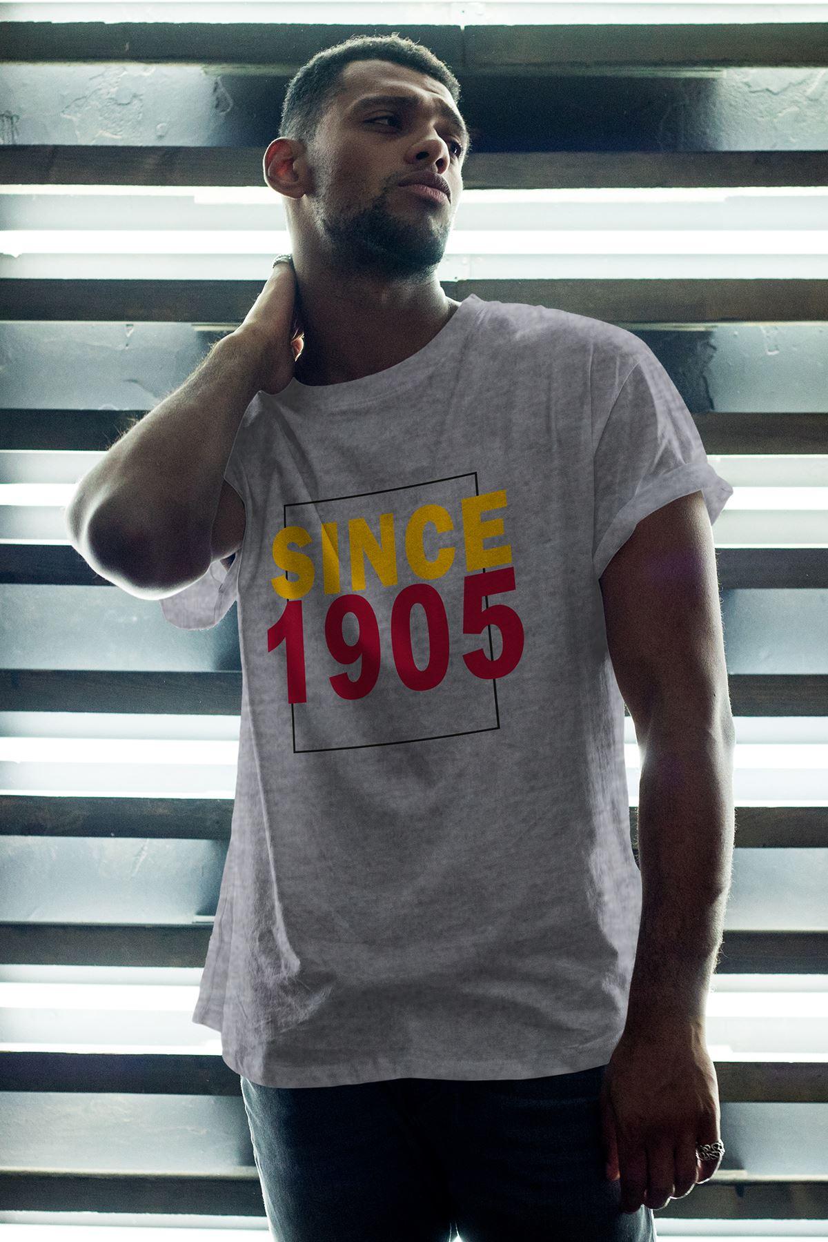 Since 1905 Gri Erkek Oversize Tshirt - Tişört