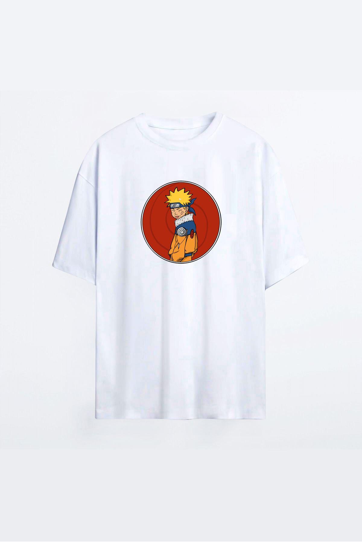 Anime Naruto Beyaz Erkek Oversize Tshirt - Tişört