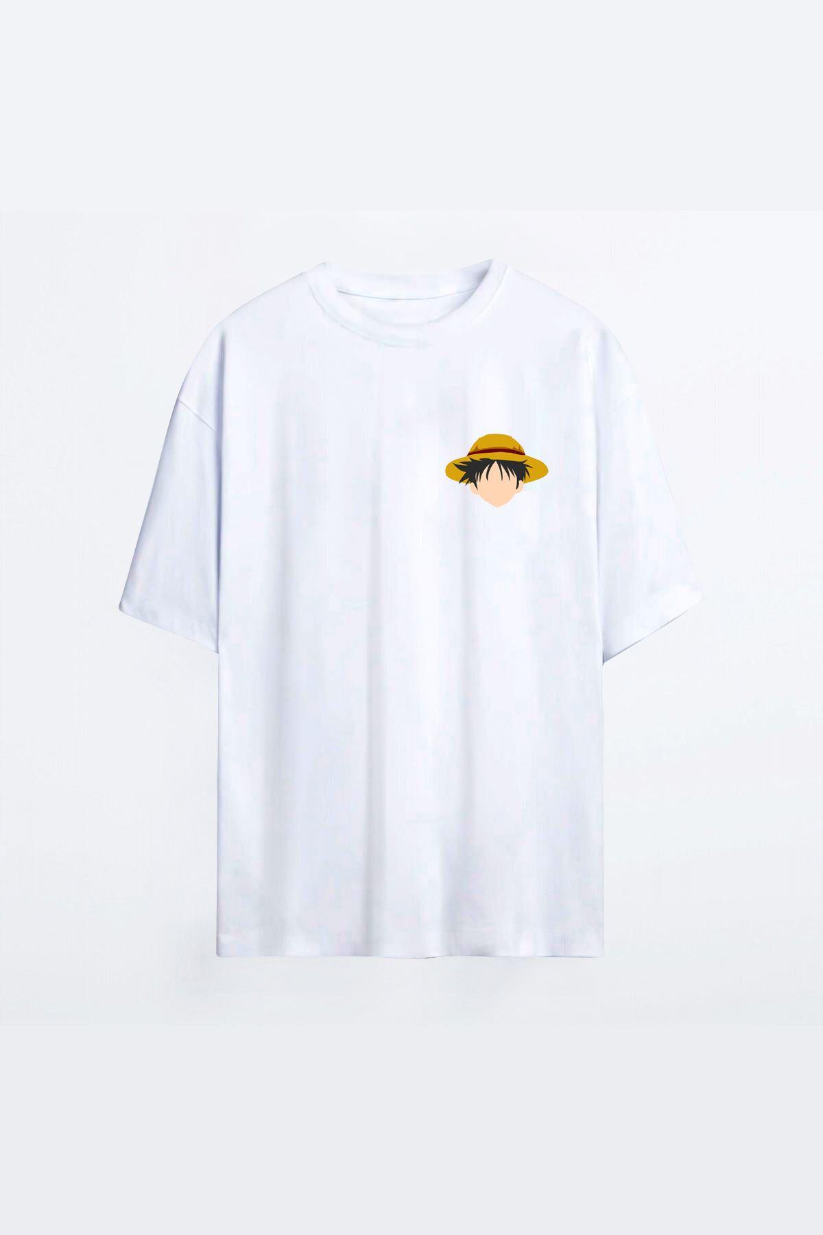 One Piece Luffy Beyaz Erkek Oversize Tshirt - Tişört